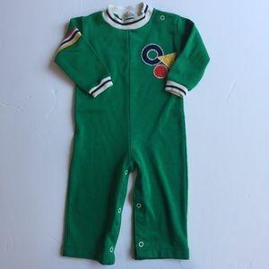 Vintage Healthtex Bodysuit Green Long Sleeves 24M